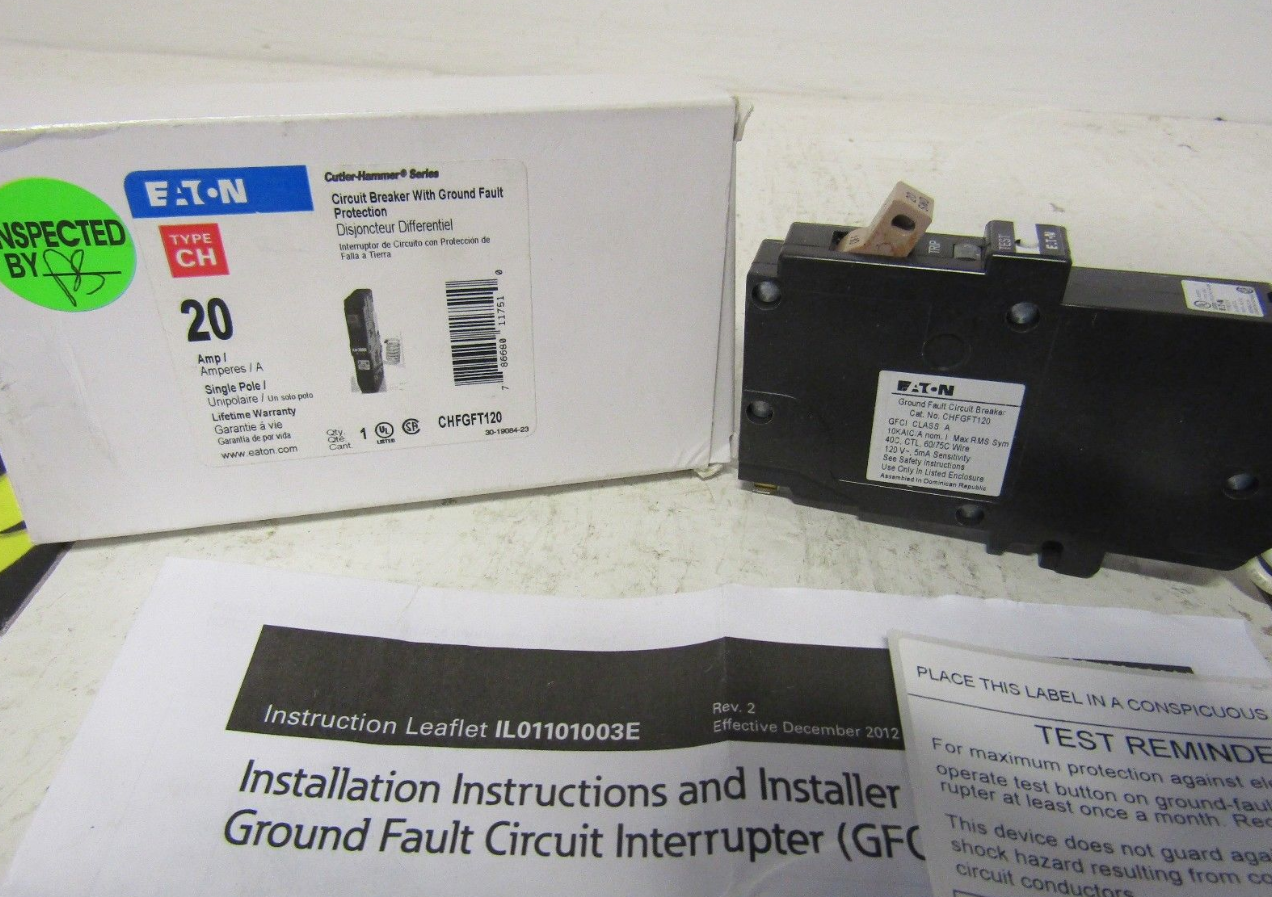 CUTLER HAMMER CHFGFT120 1 POLE 20 AMP 120 VOLT CIRCUIT BREAKER GFT ...
