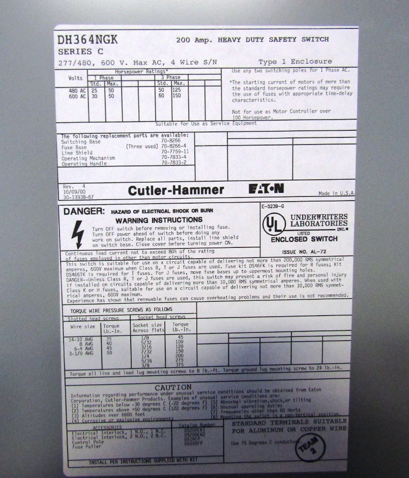 Double Throw Safety Switch moreover New Used   Electric Switch And Power Disconnect Switch Lines Wholesale Supplier also New Used   Electric Switch And Power Disconnect Switch Lines Wholesale Supplier as well S L furthermore New Used   Electric Switch And Power Disconnect Switch Lines Wholesale Supplier. on cutler hammer fusible disconnect for sale