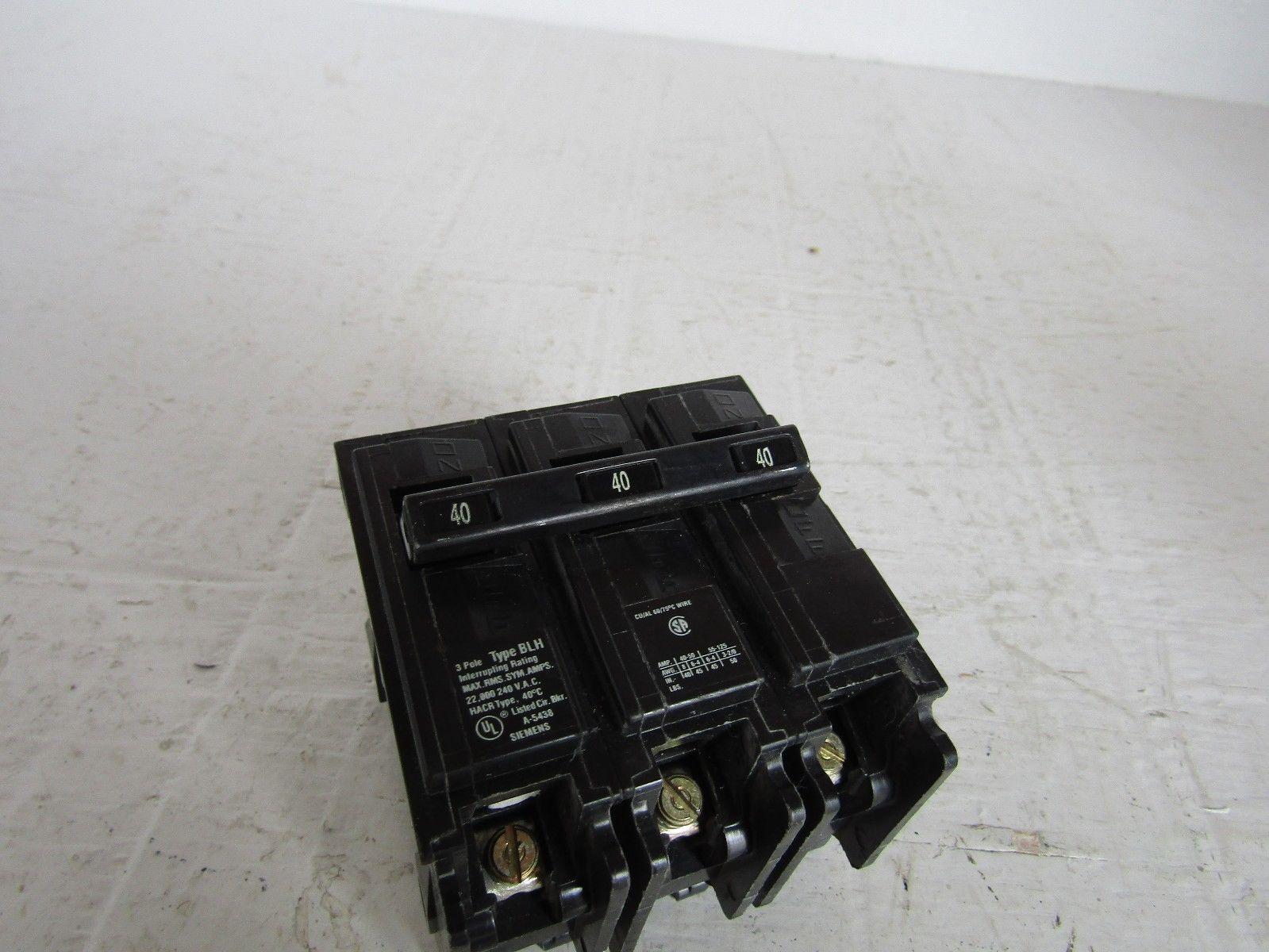 ITE SIEMENS B340H 3 POLE 40 AMP 240 VOLT TYPE BLH CIRCUIT BREAKER
