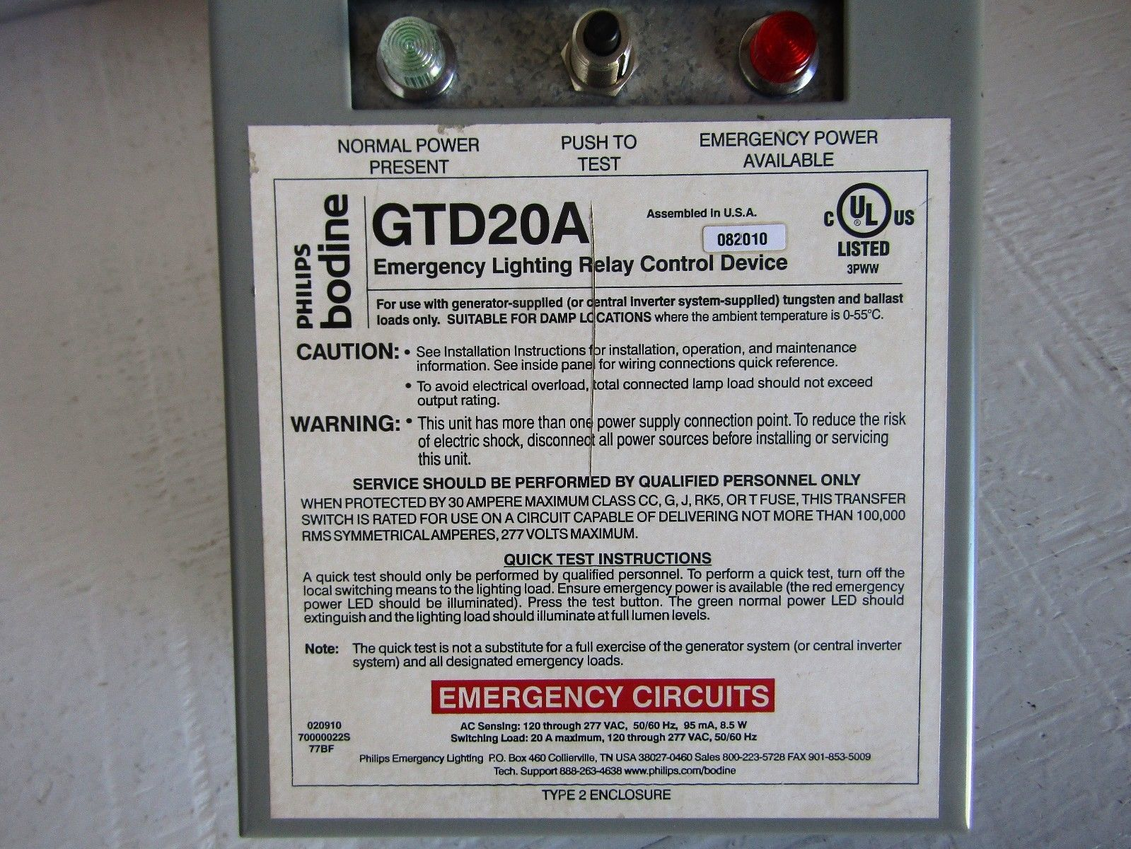 New In Box Philips Bodine Gtd20a Lighting Relay Control Transfer Bypass Fuse Electrical Generators Device