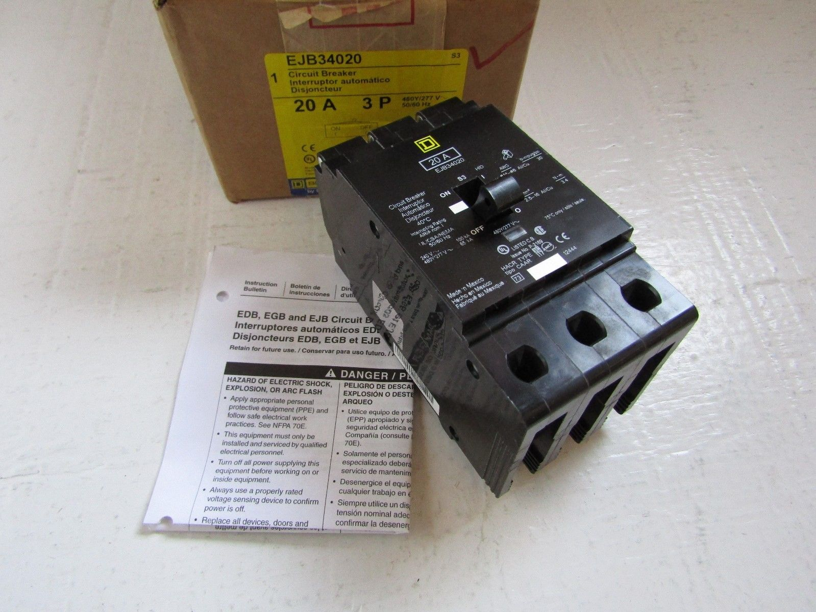 NEW IN BOX SQUARE D EJB34020 3 POLE 20 AMP 480 VOLT NF STYLE CIRCUIT ...