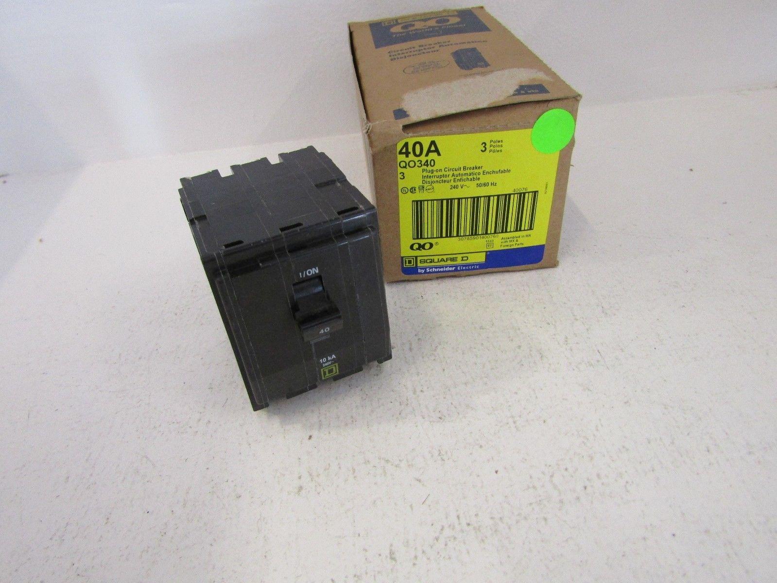 NEW SQUARE D QO QO340 3 POLE 40 AMP BREAKER 3P 40A 240V QO FITS NQ ...
