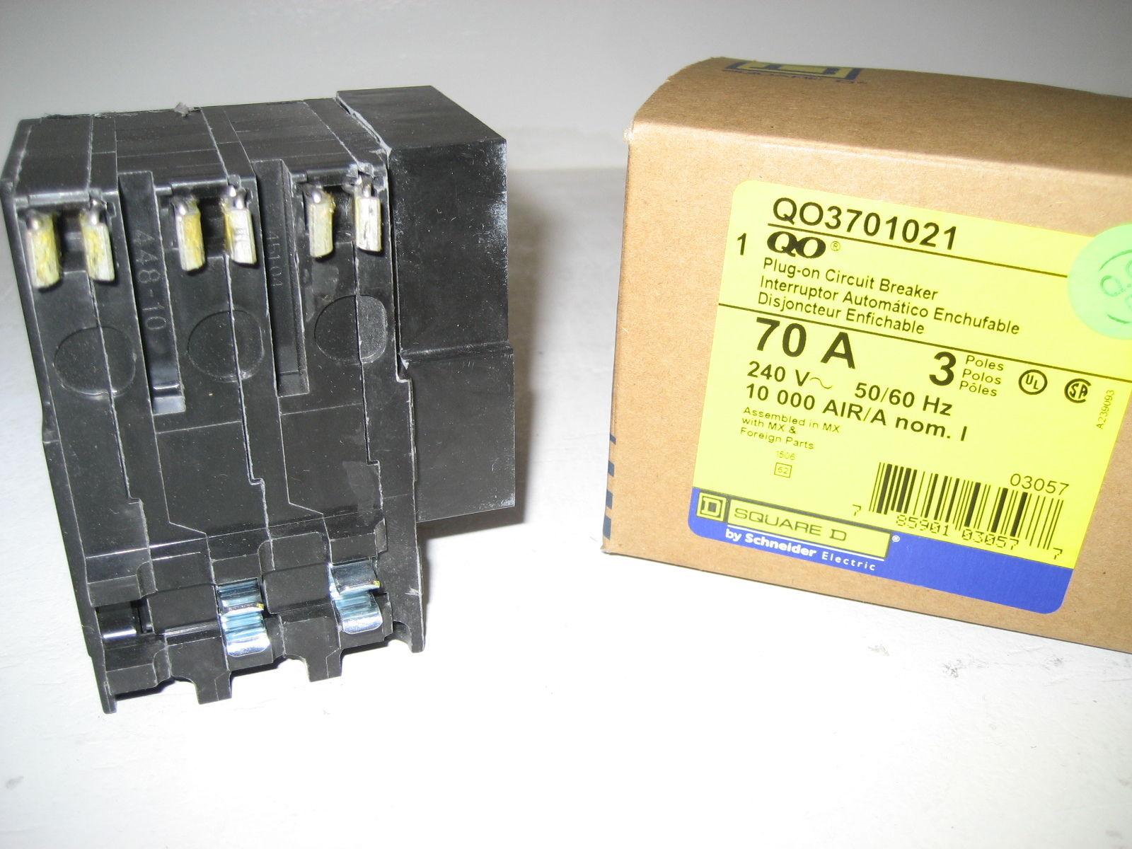 New Square D Shunt Trip Breaker Qo3701021 3 Pole 70 Amp Box 1