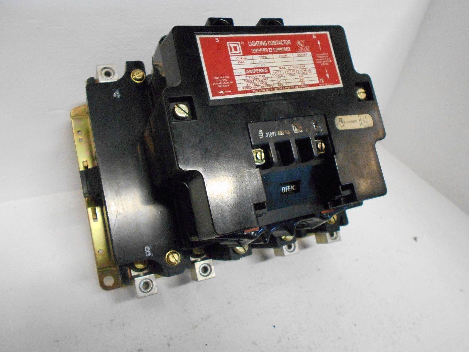 SQUARE D LIGHTING CONTACTOR 8903SQO3V02 4 POLE 100 AMP 600 VOLT ... & SQUARE D LIGHTING CONTACTOR 8903SQO3V02 4 POLE 100 AMP 600 VOLT SQO3 ...