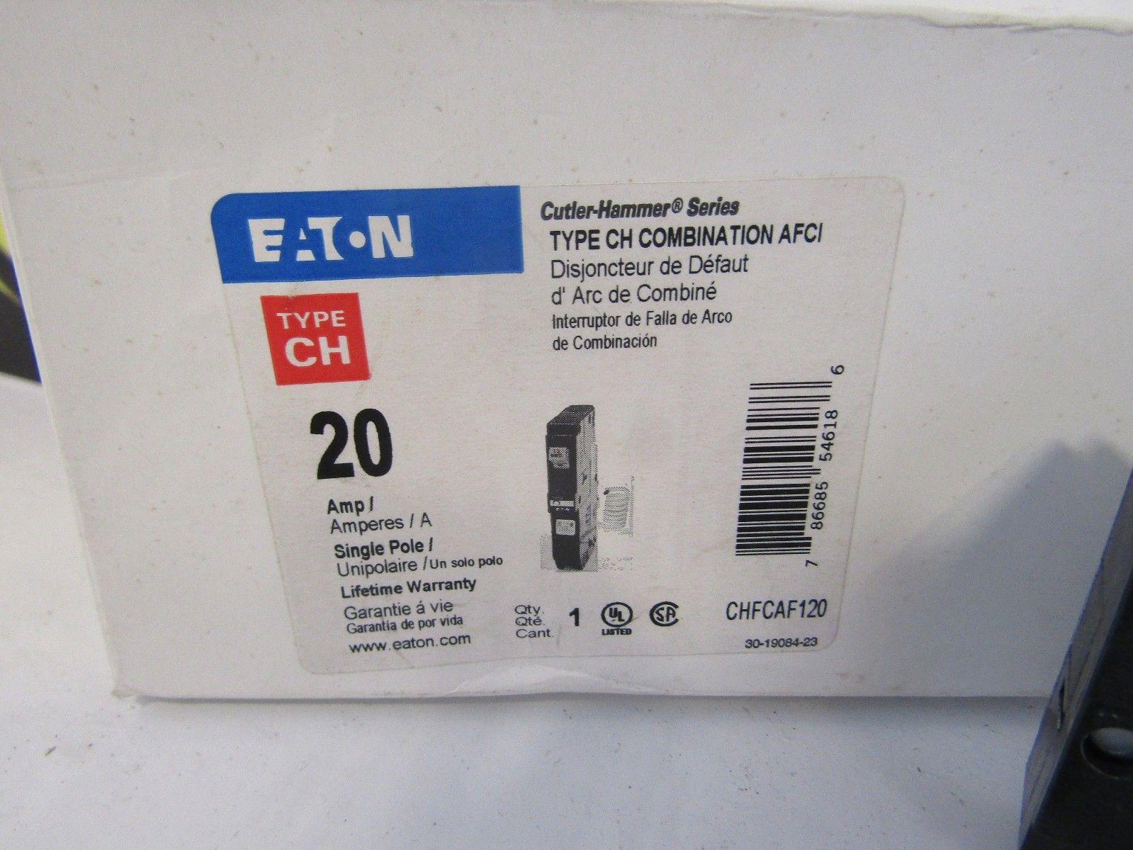 New In Box Cutler Hammer Chcaf120 1 Pole 20 Amp 120 V 10ka120v 100 Main Breaker Panel Circuit