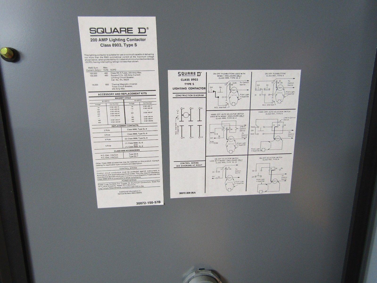 NEW SQUARE D 8903SVH2V02 200 AMP 600V 120V COIL 3 PHASE 3 POLE NEMA ...