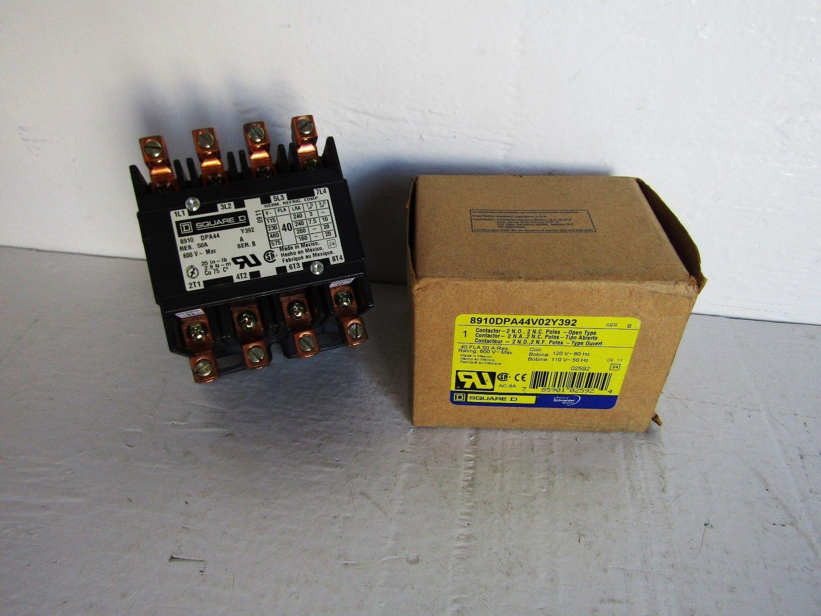 New Square D 8910dpa44v02y392 4 Pole 40 Amp 600 Volt Definite Purpose Contactor