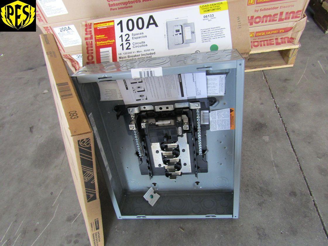 NEW SQUARE D HOM12M100C 100 AMP 12 CKT MAIN BREAKER INDOOR PANEL W ...