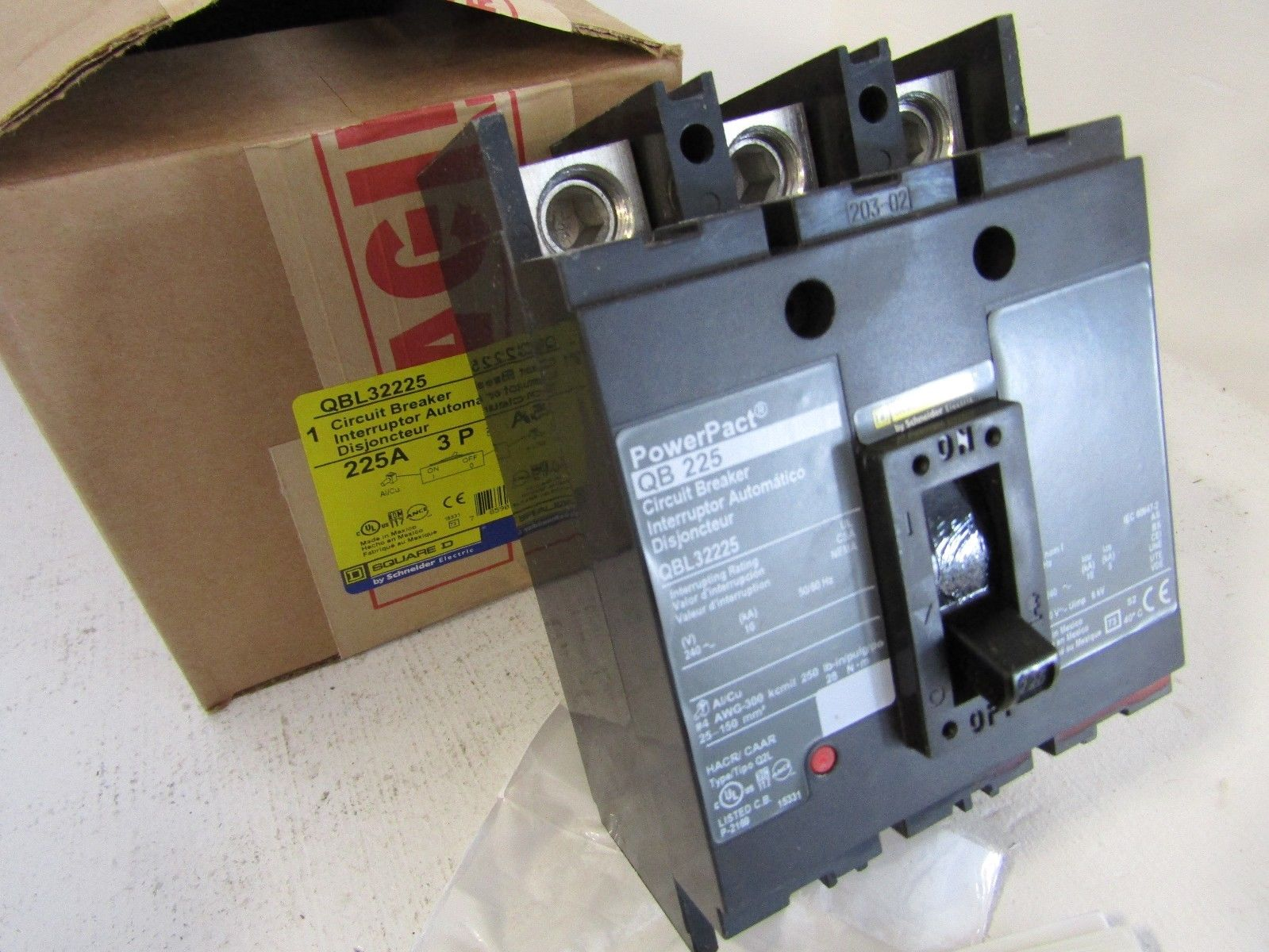 New Square D Qbl32225 3 Pole 225 Amp 240 Volt Powerpact Circuit Phase Schneider Contactor Wiring Breaker