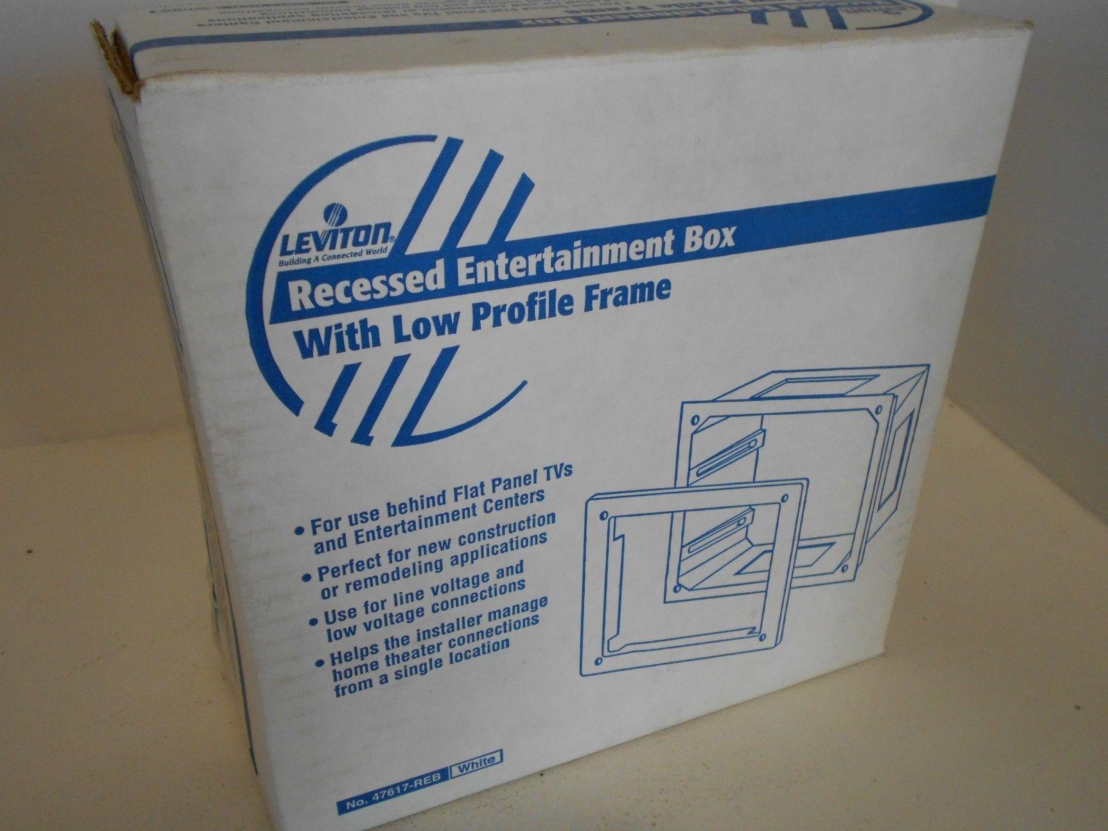 NIB LEVITON 47617-REB RECESSED ENTERTAINMENT BOX LOW PROFILE FRAME ...