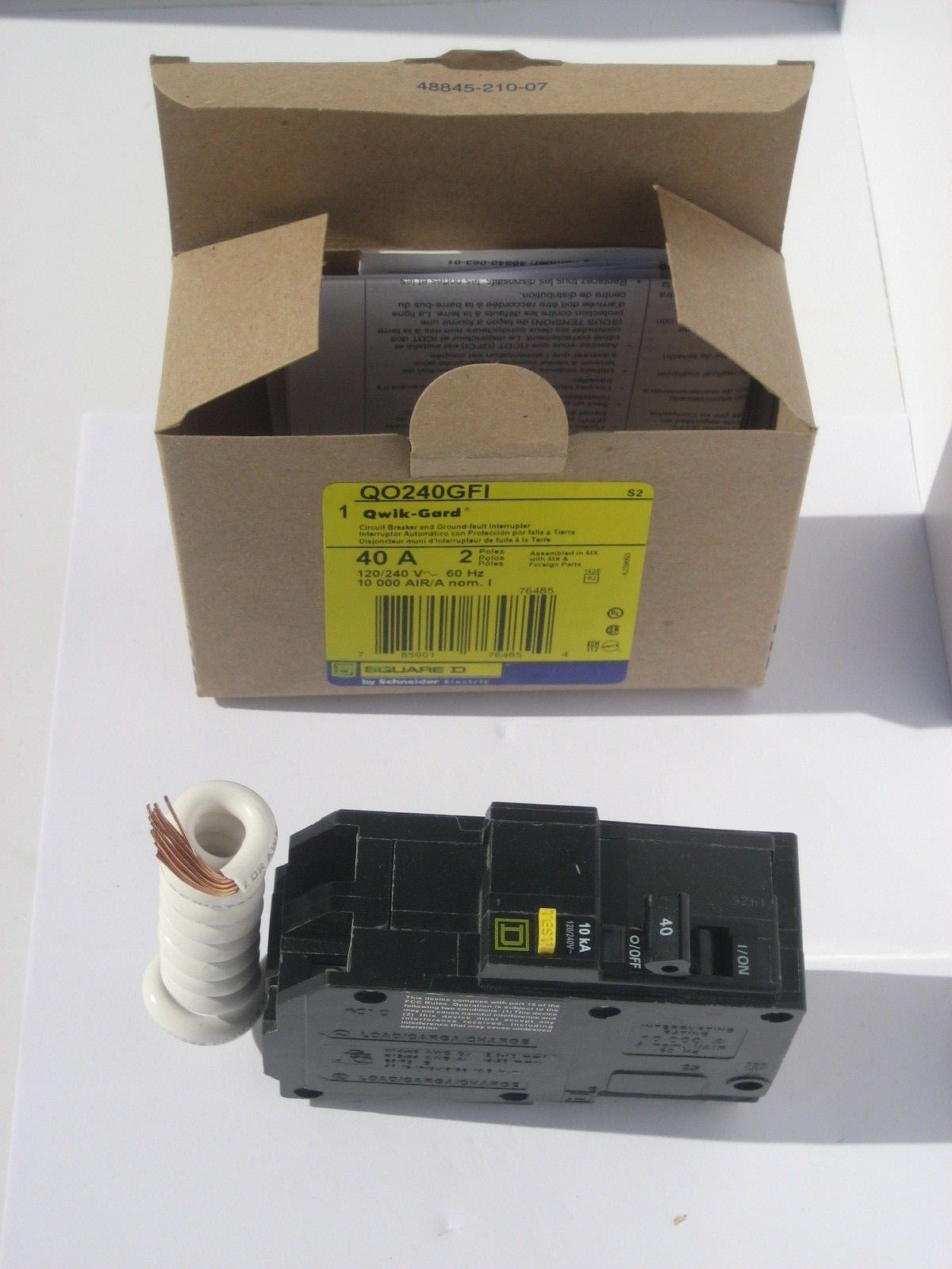 New In The Box Nib Square D Qo240gfi Qo 2 Pole 40 Amp Gfci Breaker 20 On 15 Circuit