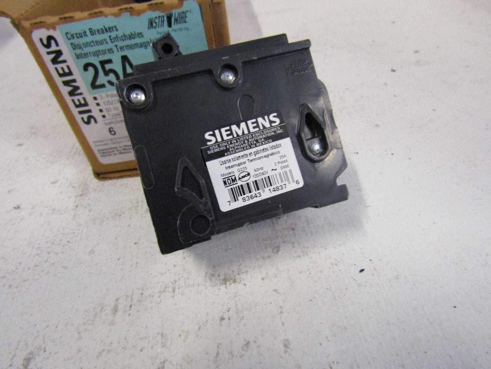 New Lot Of 3 Siemens Q225 2 Pole 25 Amp 120 240v Plug In Circuit 25a Generator Breaker 10 Ebay
