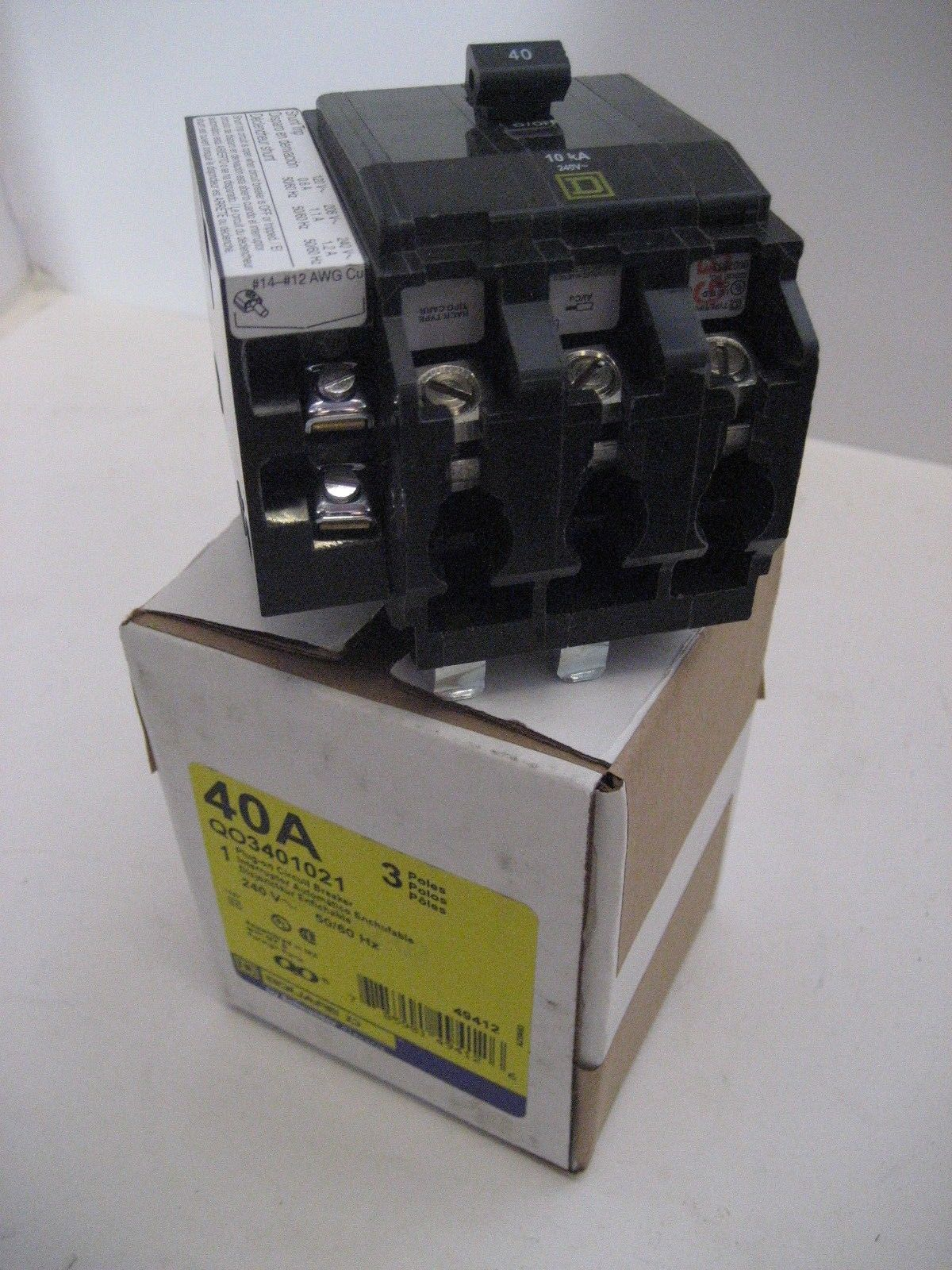 Newsquare D Qo3401021 3 Pole Phase 40 Amp 240 Volt Shunt Trip How Do Breakers Work Breaker
