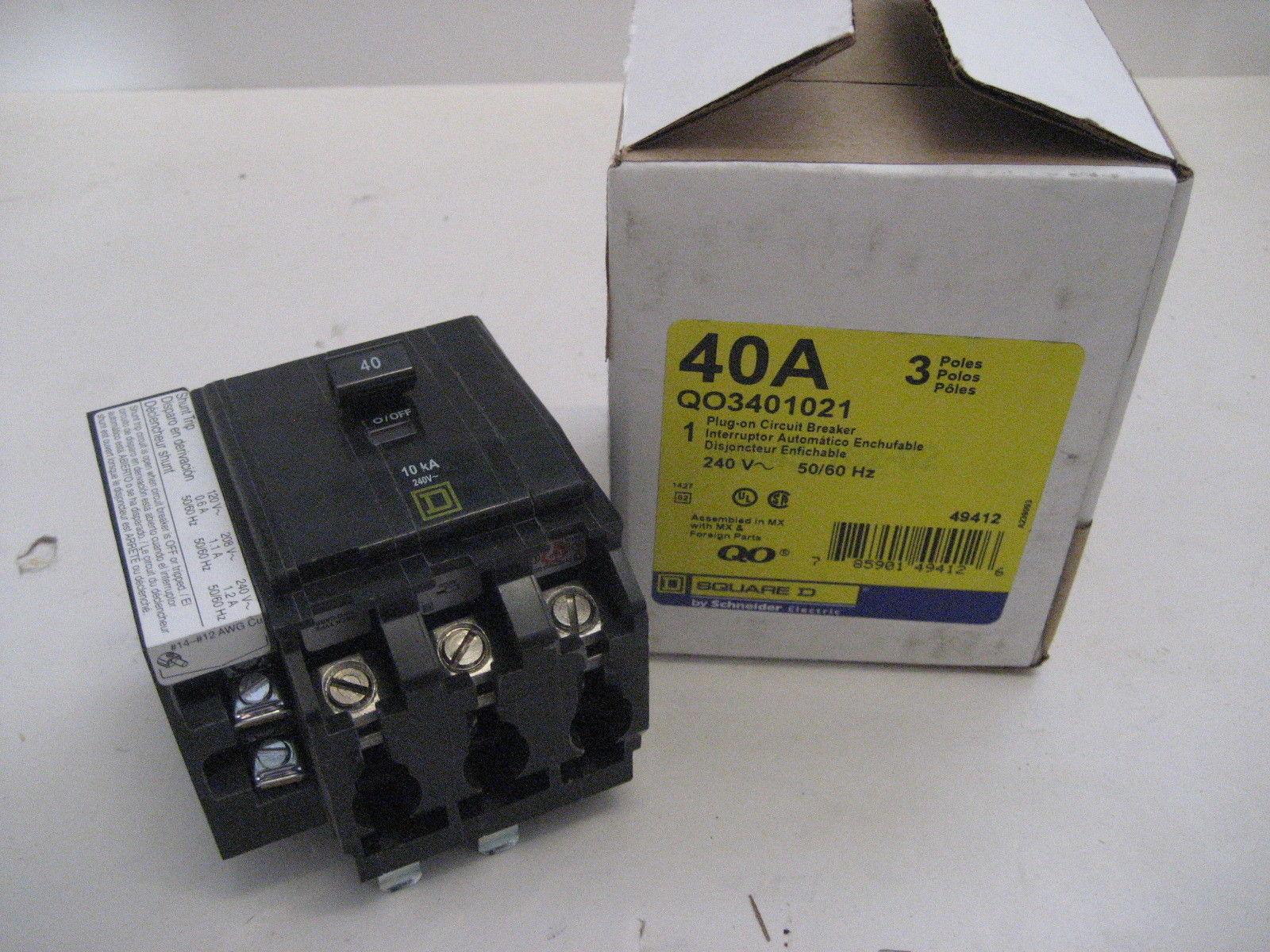 ~new~square d qo3401021 3 pole 3 phase 40 amp 240 volt ... shunt trip wiring diagram