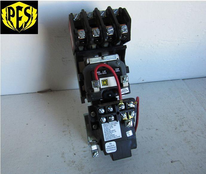SQUARE D 8903LX040V02 40 AMP 600 VOLT 120 VOLT COIL LIGHTING CONTACTOR