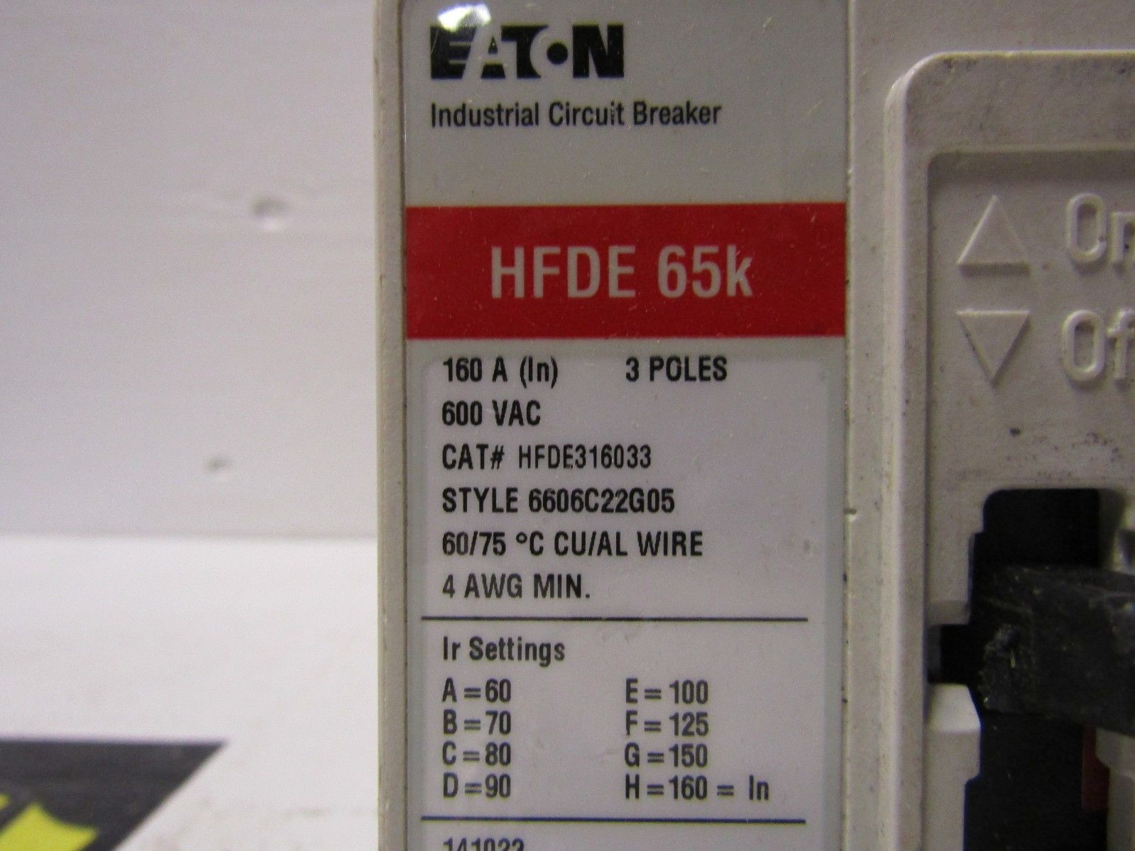 Cutler Hammer Hfde316033 3 Pole 160 Amp 480 Volt 65ka480 Circuit Breaker Labels Ebay