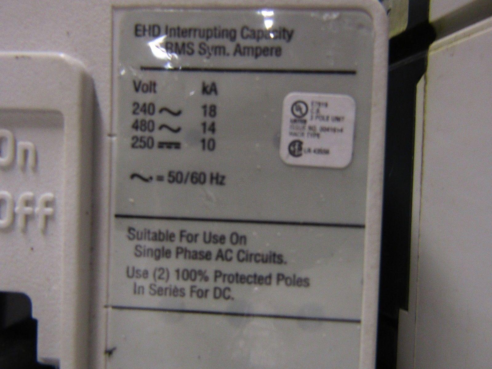 CUTLER HAMMER/EATON EHD3100BP10 3 POLE 3PH 100 AMP 240/480 VOLT ...
