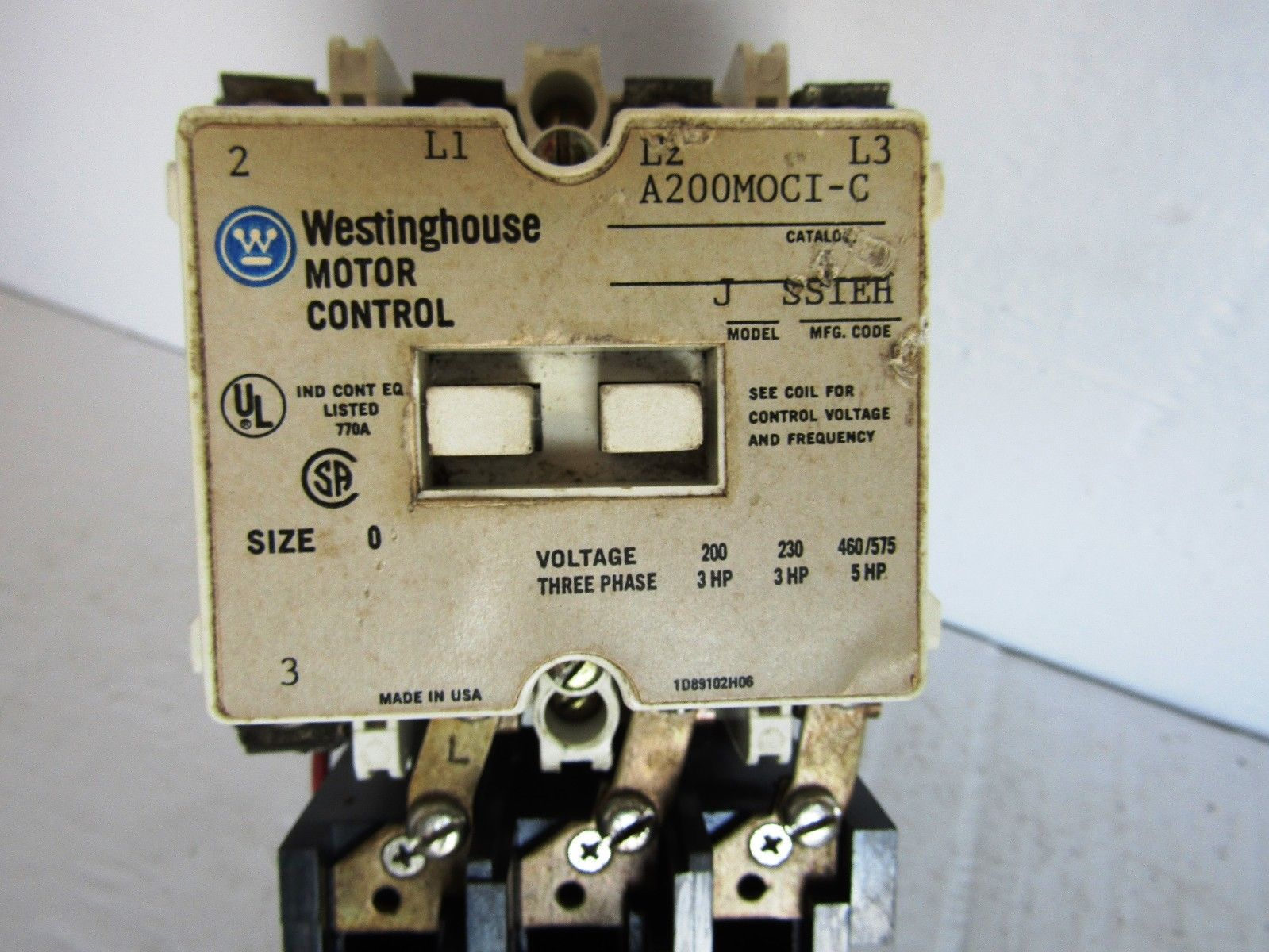 Cutler Hammer Westinghouse A200moci C 200 230 460 575 Volt