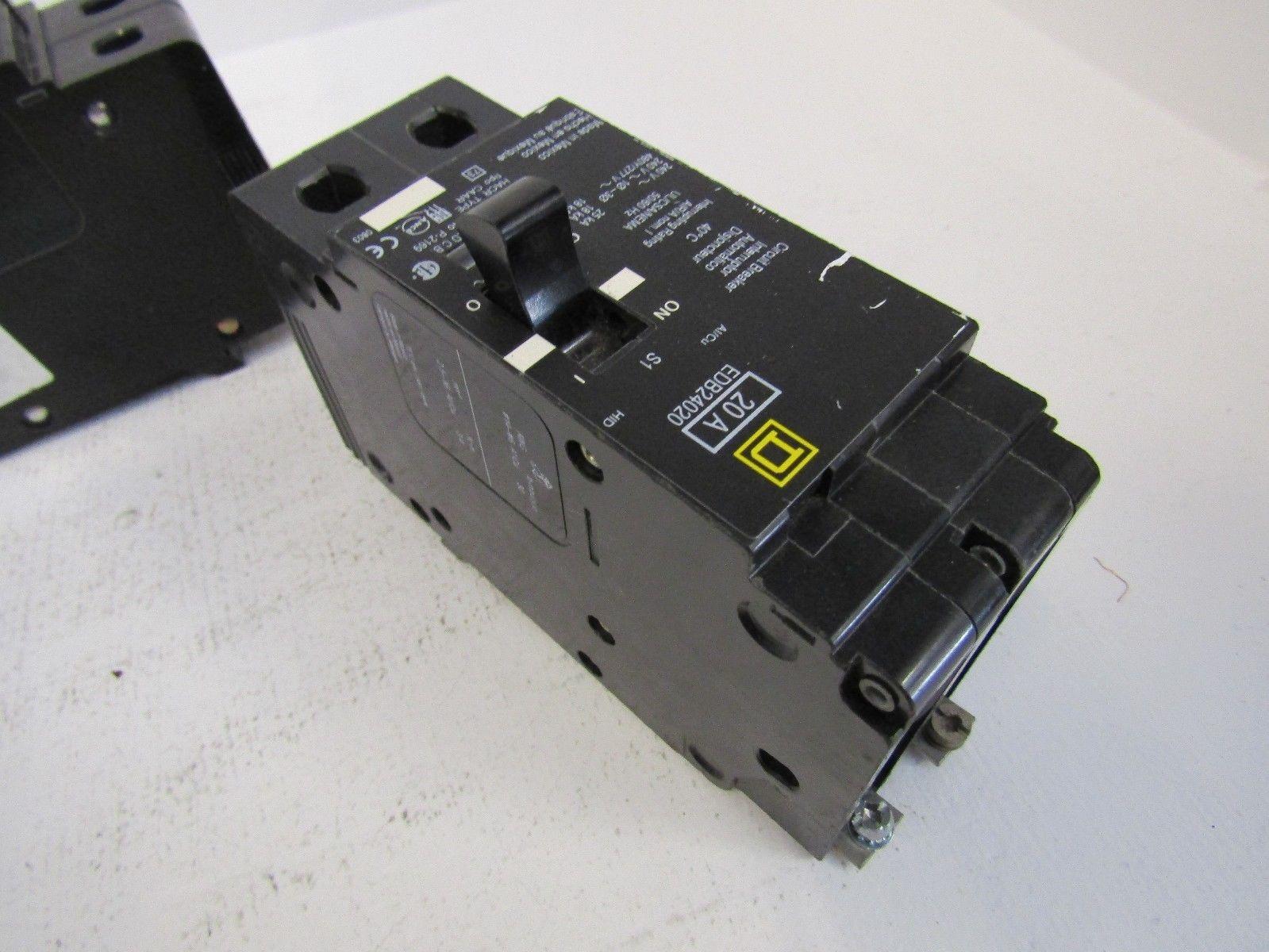 NEW LOT OF 2 SQUARE D EDB24020 EDB24015 2 POLE 20 AMP 15 AMP 480 ...