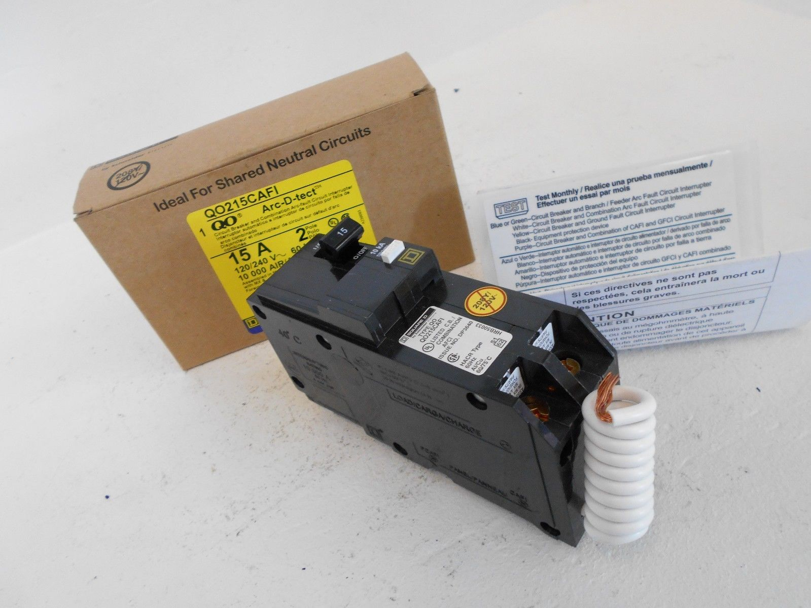 New Square D Qo215cafi 2 Pole 15 Amp 120 240v Combination Arc Fault Circuit Breaker In Addition Interrupter 15a
