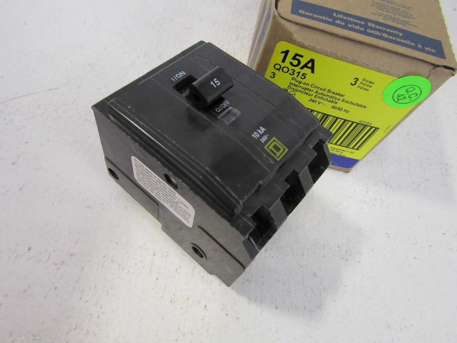 NEW SQUARE D QO315 3 POLE 15 AMP 240 VOLT CIRCUIT BREAKER FITS NQOD ...