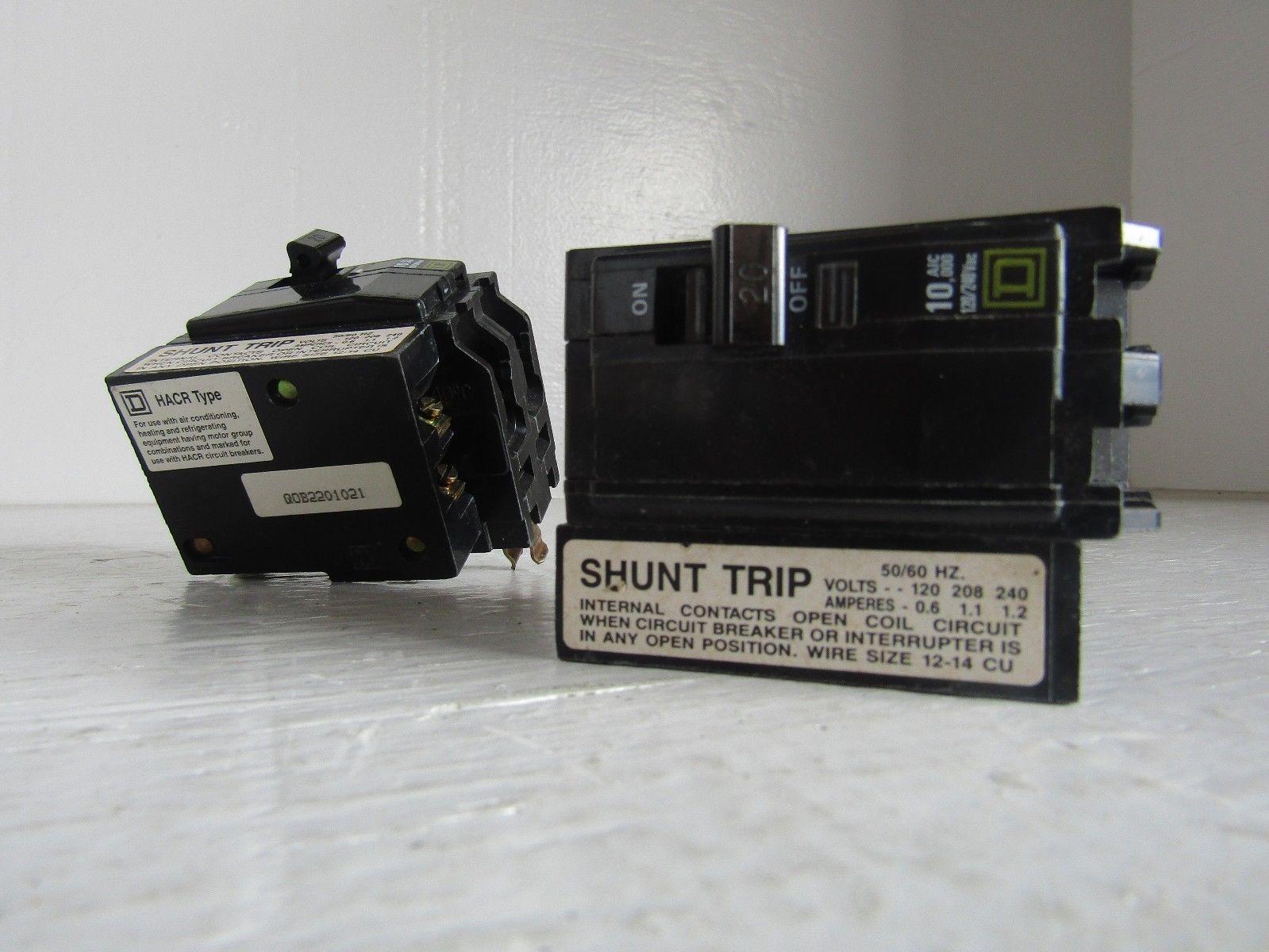 NEW SQUARE D QOB2201021 BOLT-ON SHUNT TRIP 2 POLES 20 AMP 10K ...