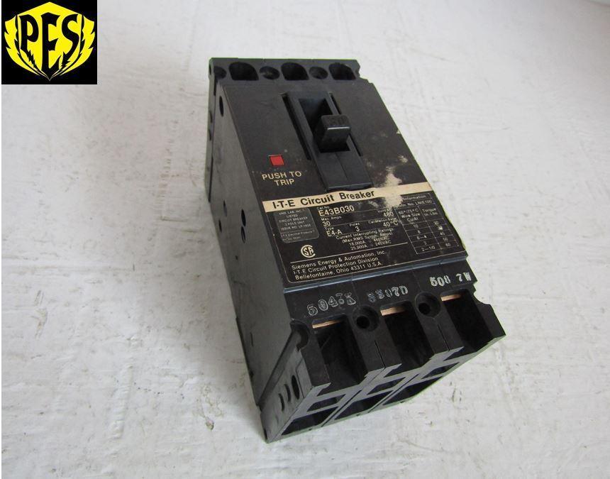 SIEMENS ITE E43B030 3 POLE 30 AMP 277/480 VOLT TYPE E4 BOLT IN ...