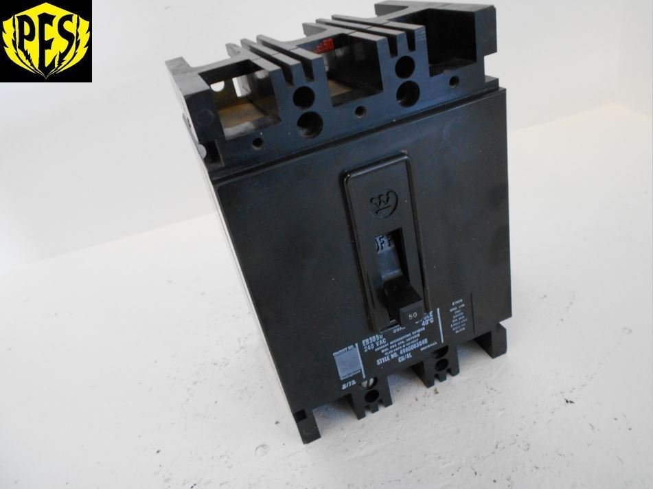 WESTINGHOUSE EB3050 3 POLE 50 AMP 240 VOLT CIRCUIT BREAKER CUTLER ...