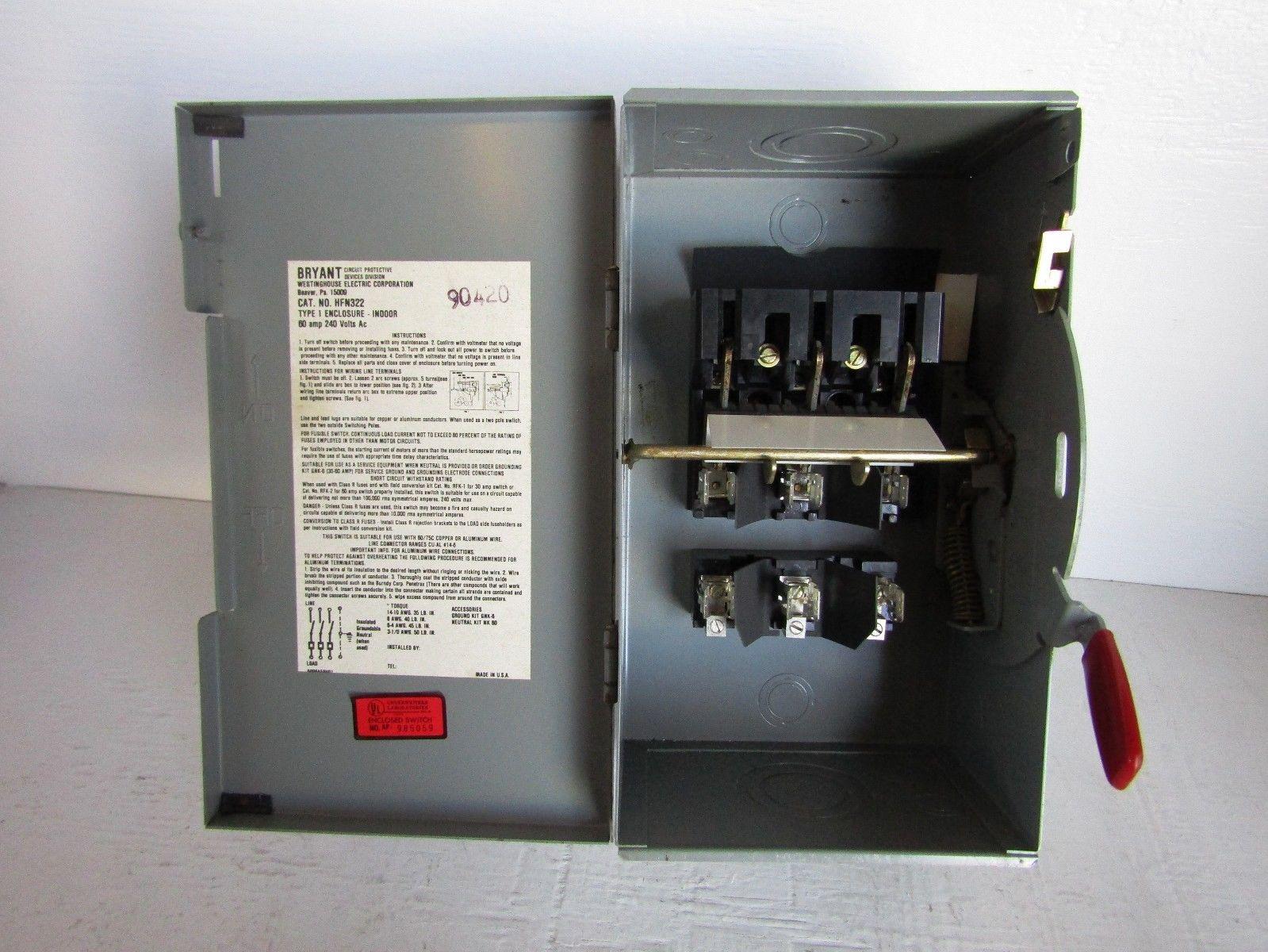 WESTINGHOUSE/BRYANT HFN322 3 POLE 60 AMP 240 VOLT NEMA 1 ...