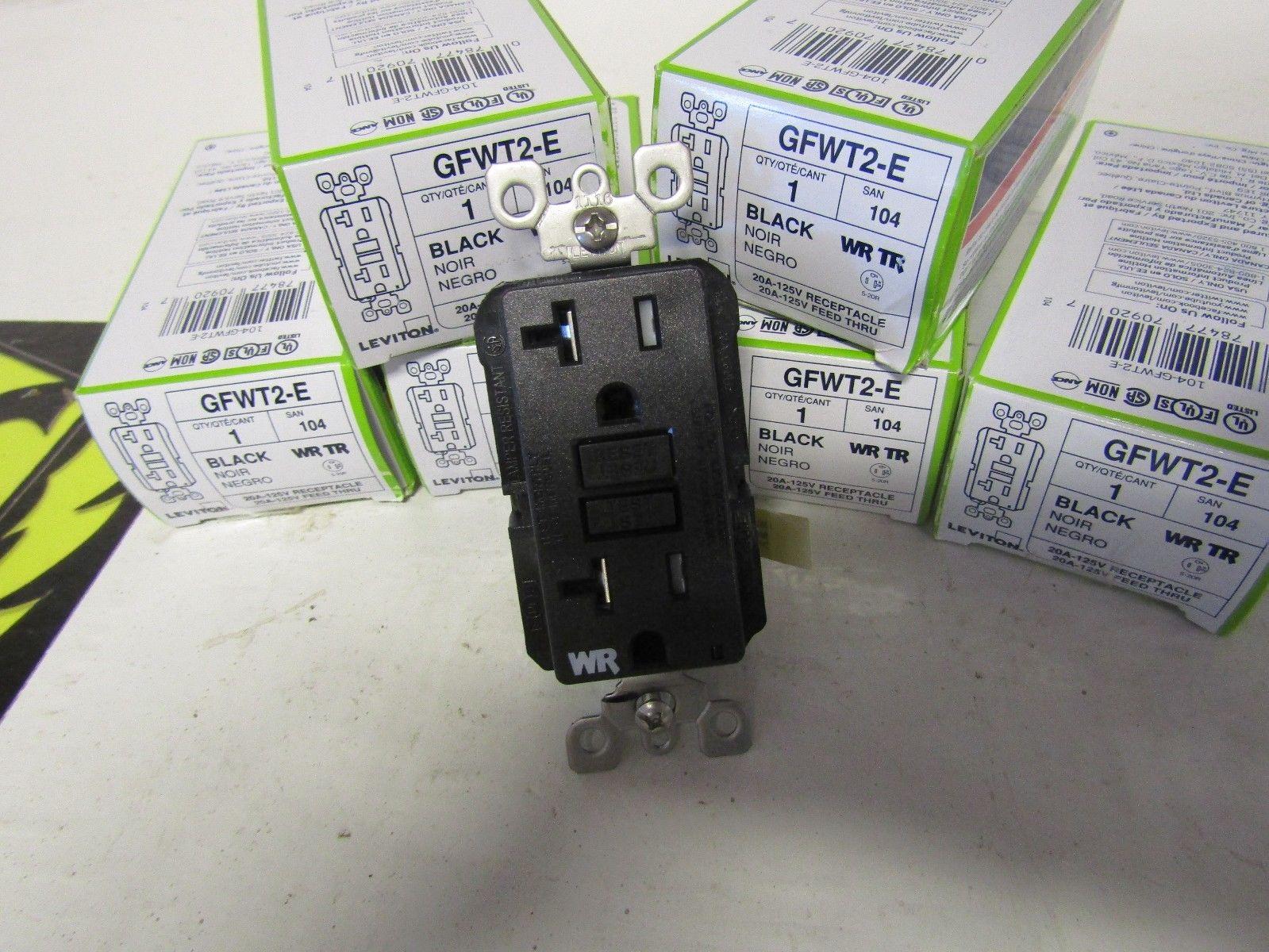 LEVITON GFWT2-E 20 AMP 125 VOLT WR TR BLACK RECEPTACLE | Powered ...