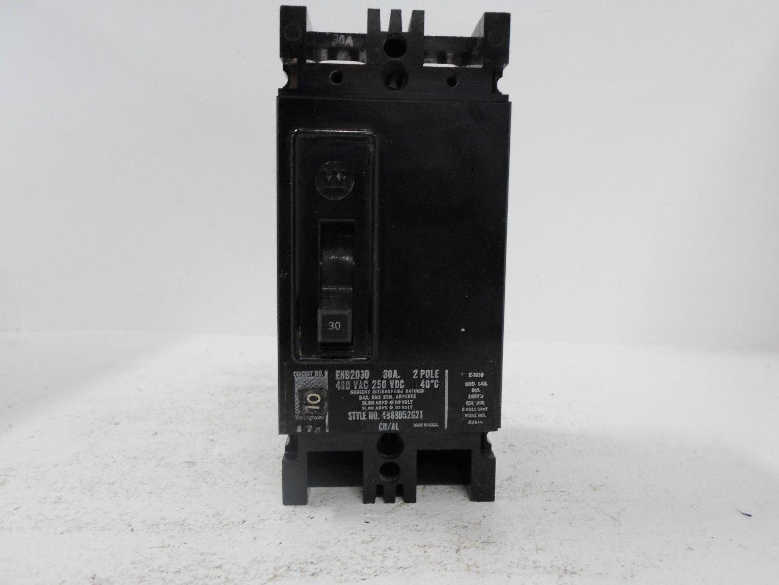 WESTINGHOUSE EHB2030 2 POLE 30 AMP 600 AMP TYPE EHB CIRCUIT BREAKER ...