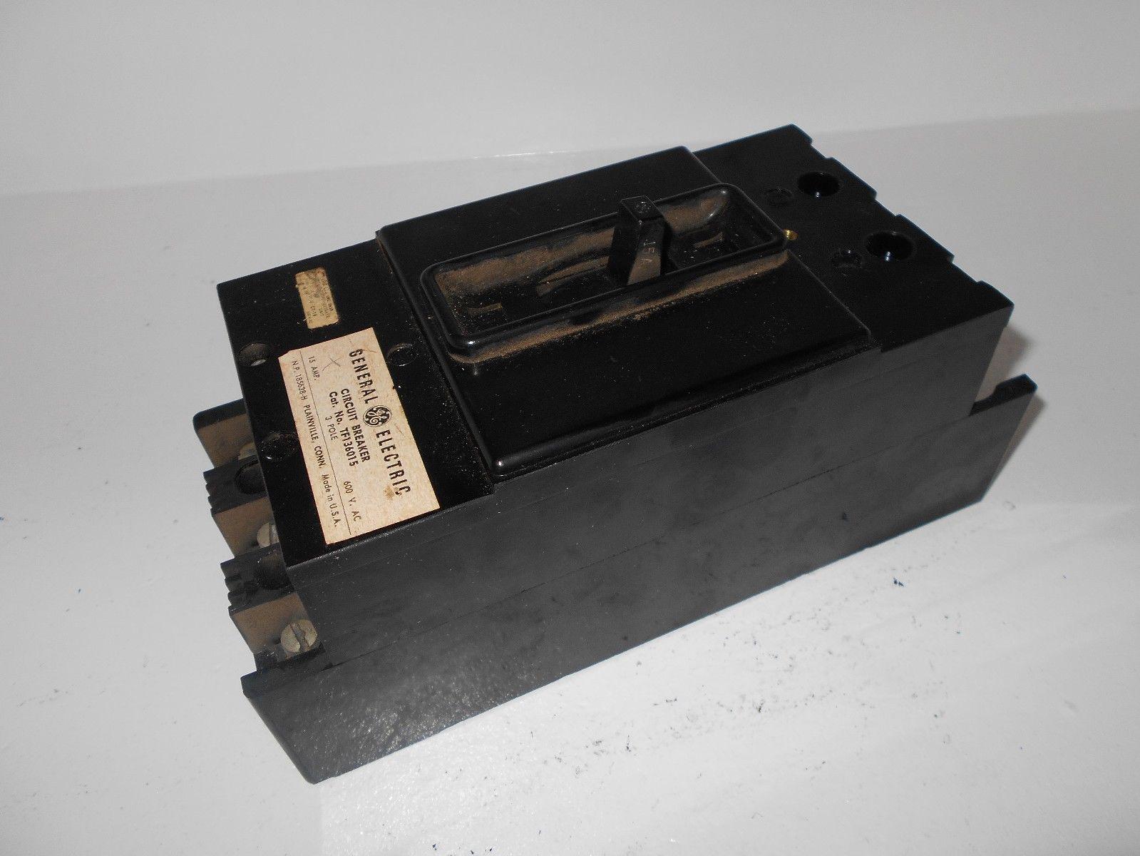 GE GENERAL ELECTRIC TF136015 3 POLE 15 AMP 600 VOLT CIRCUIT BREAKER ...