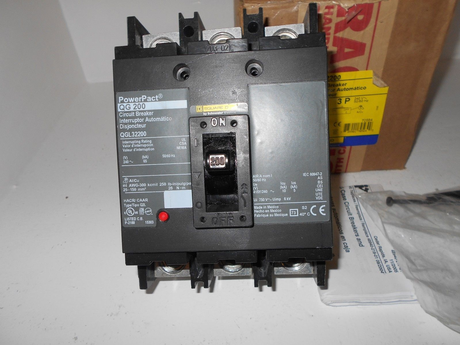New Circuit Breaker 200 Ampere Worksheet And Wiring Diagram Image Library Hom2200 Nib Square D Qgl32200 3 Pole Amp 240 Volt Type Qg 65k Rh Poweredelectricsupply Com Price Philippines