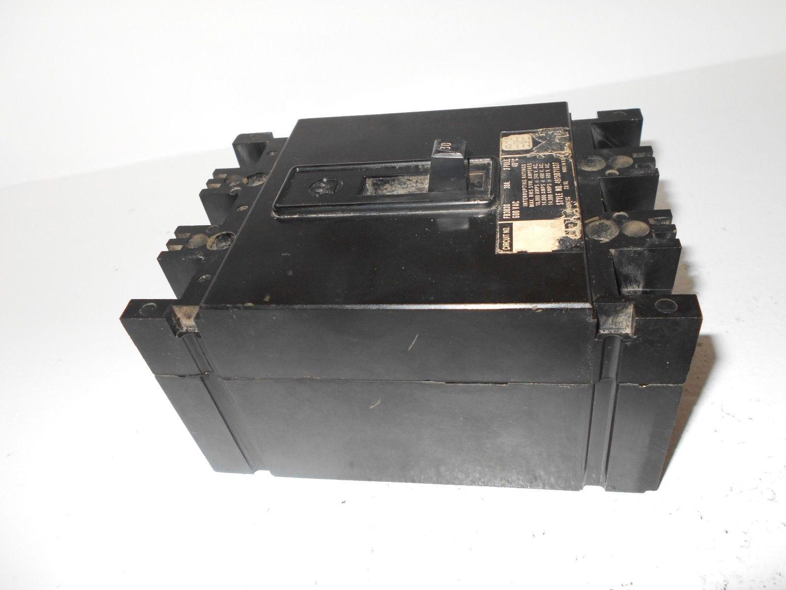 WESTINGHOUSE FB3030 3 POLE 30 AMP 480 VOLT CIRCUIT BREAKER