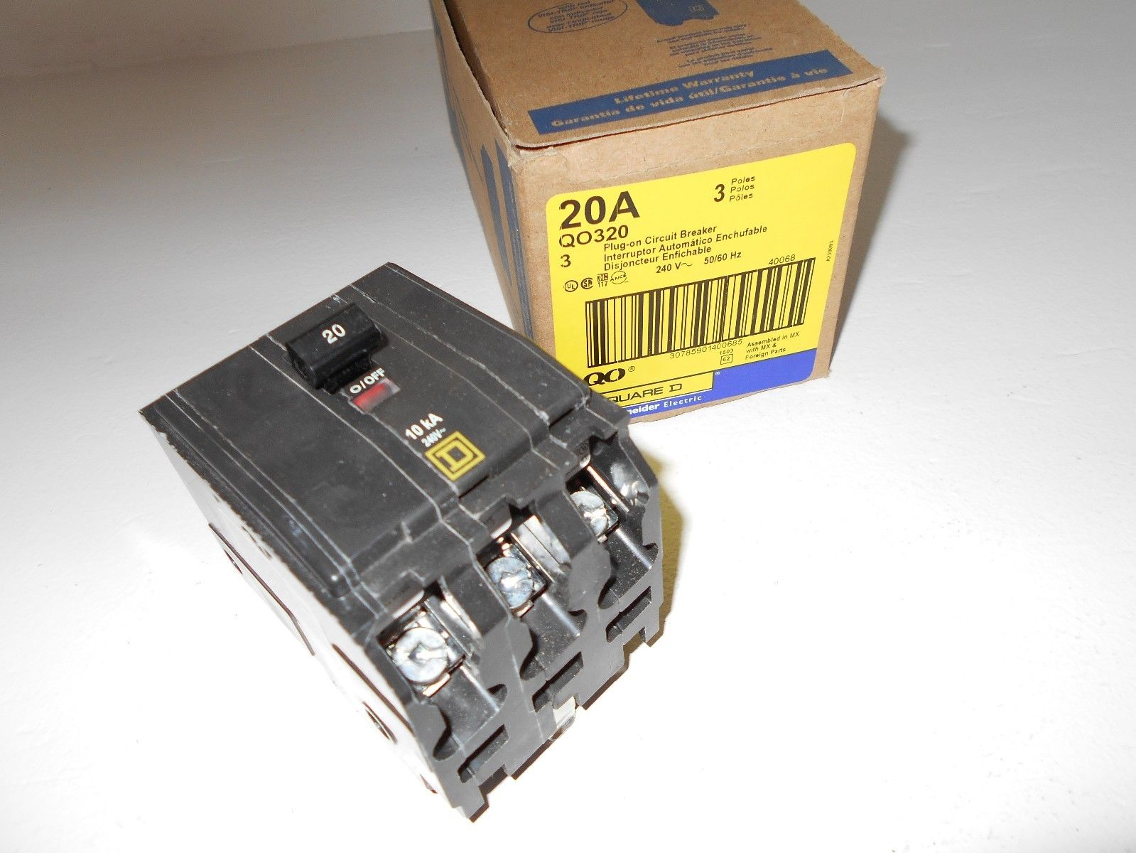 NEW SQUARE D QO QO320 3 POLE 20 AMP BREAKER 3P 20 AMP 240V QO FITS ...