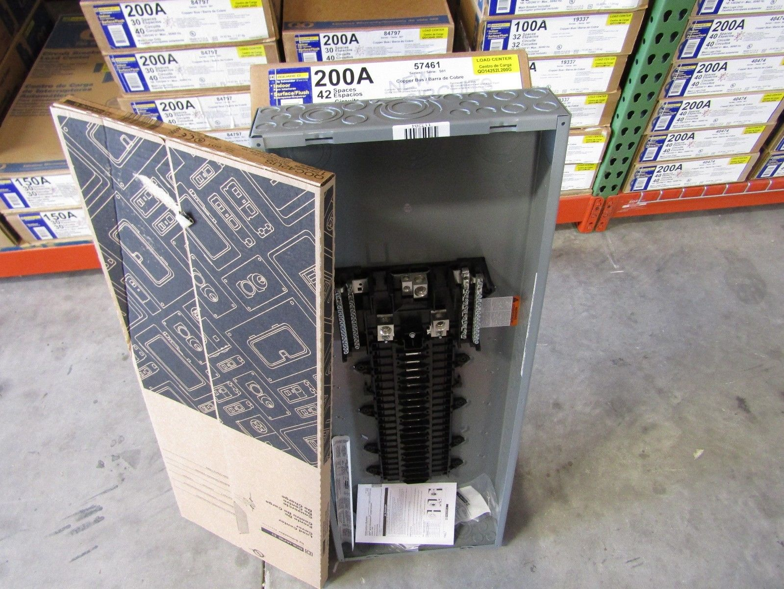 New Square D Qo14252l200g 200amp 52 Circuit Mlo Qo Loadcenter Panel W   Cover