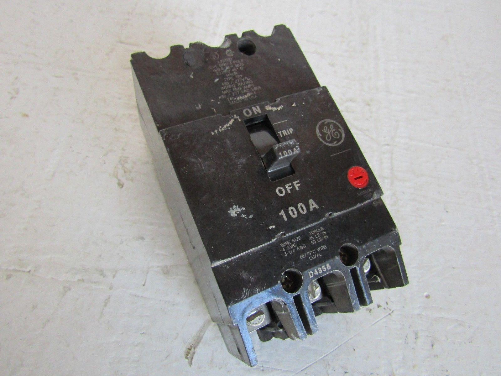 GE GENERAL ELECTRIC TEY3100 3 POLE 100 AMP 277/480 VOLT CIRCUIT ...