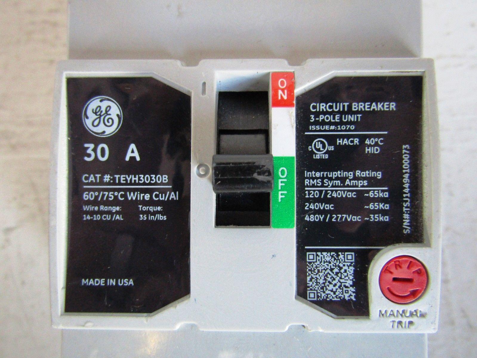 GENERAL ELECTRIC TEYH3030B 3 POLE 30 AMP 480 VOLT 35KA CIRCUIT ...