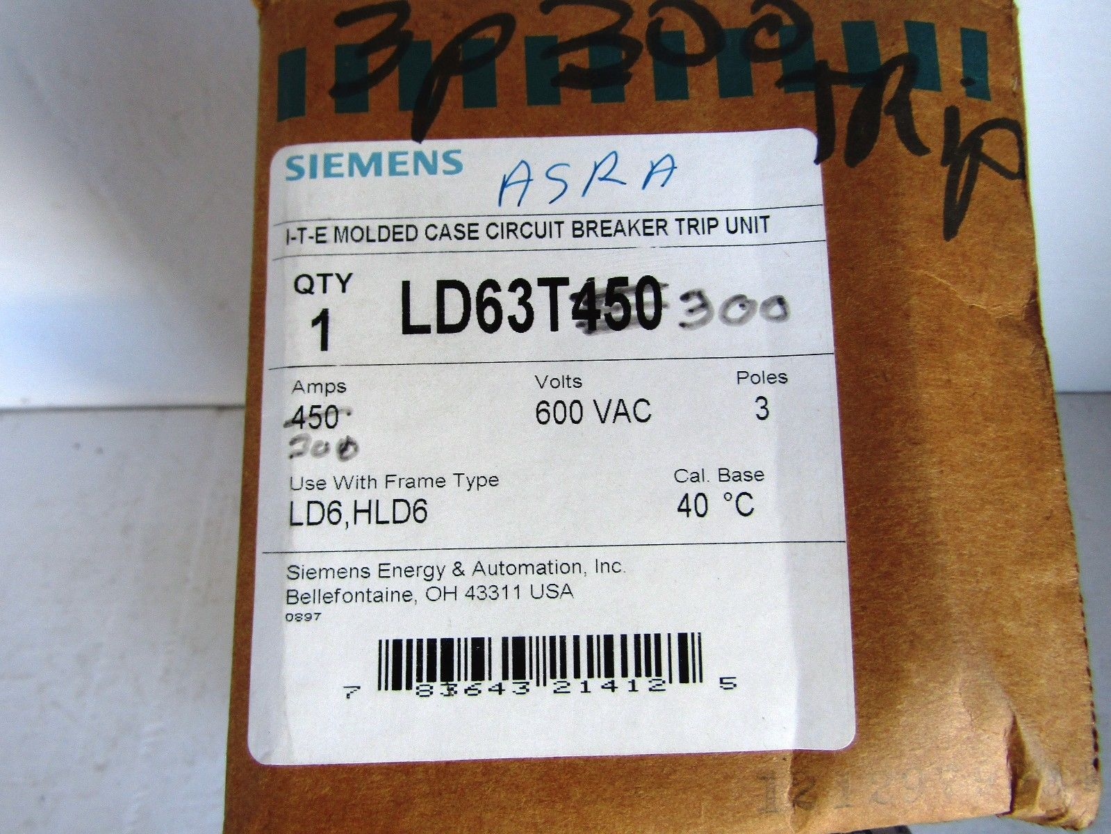 NEW SIEMENS LD63T300 300 AMP 600 VOLT TYPE LD6 CIRCUIT BREAKER TRIP ...