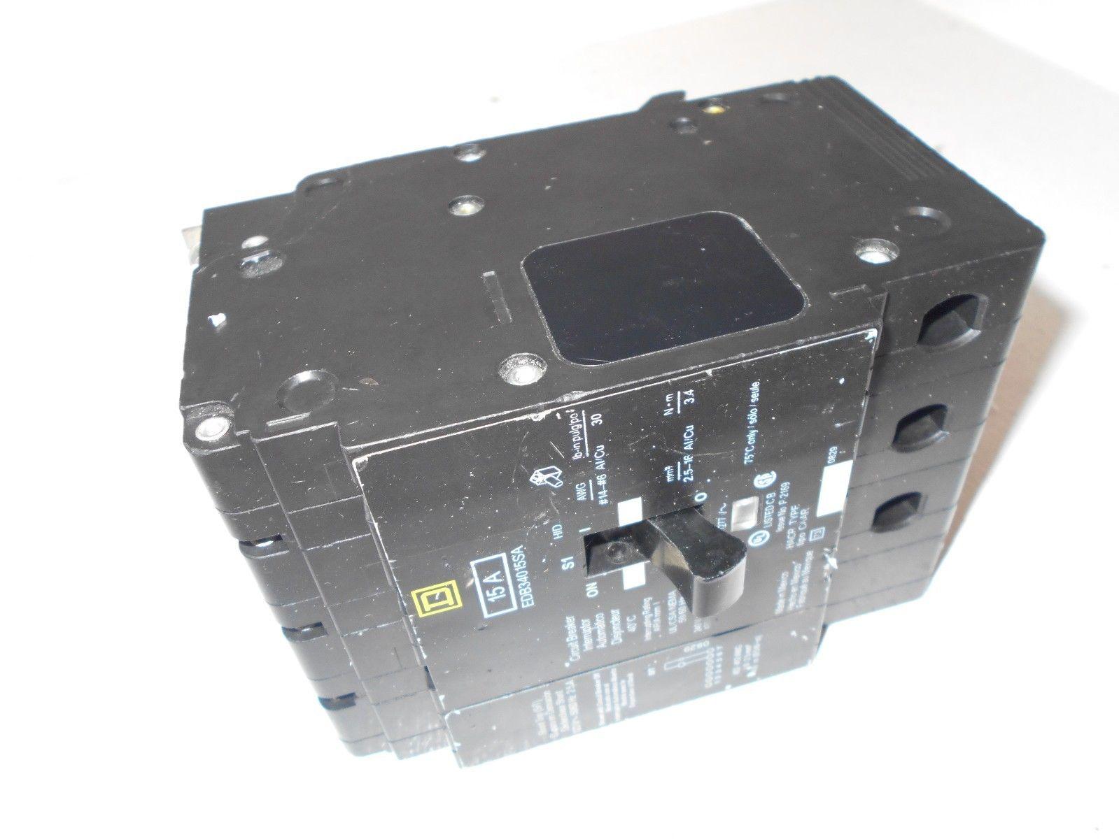 New Square D Edb34015sa 3 Pole 15 Amp 480v Circuit Breaker W 120v Image