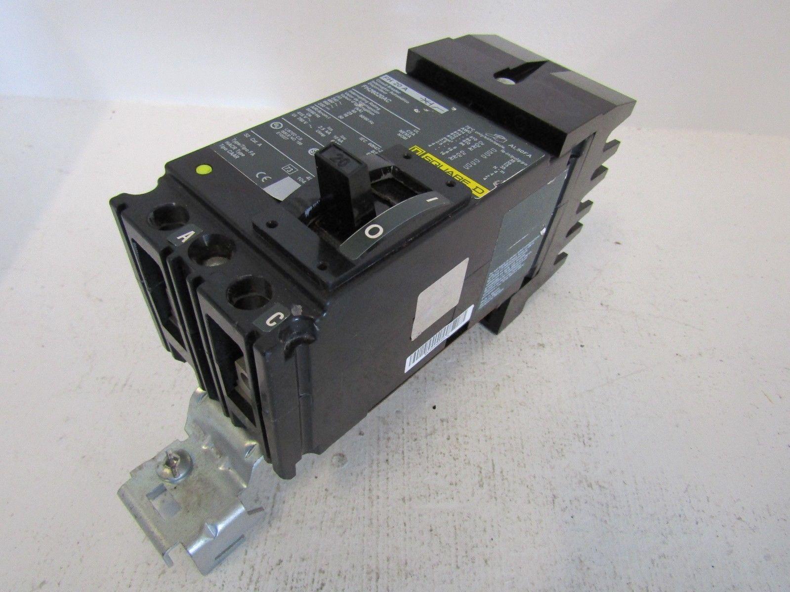 NEW SQUARE D FH26020AC 2 POLE 20 AMP 600 VOLT I-LINE CIRCUIT BREAKER ...