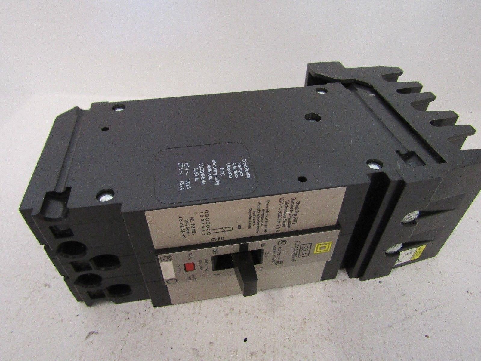 New Square D Fja140205sa 1 Pole 20 Amp 277 480 Volt Shunt Trip 25a Generator Circuit Breaker Lot Of 10 Ebay