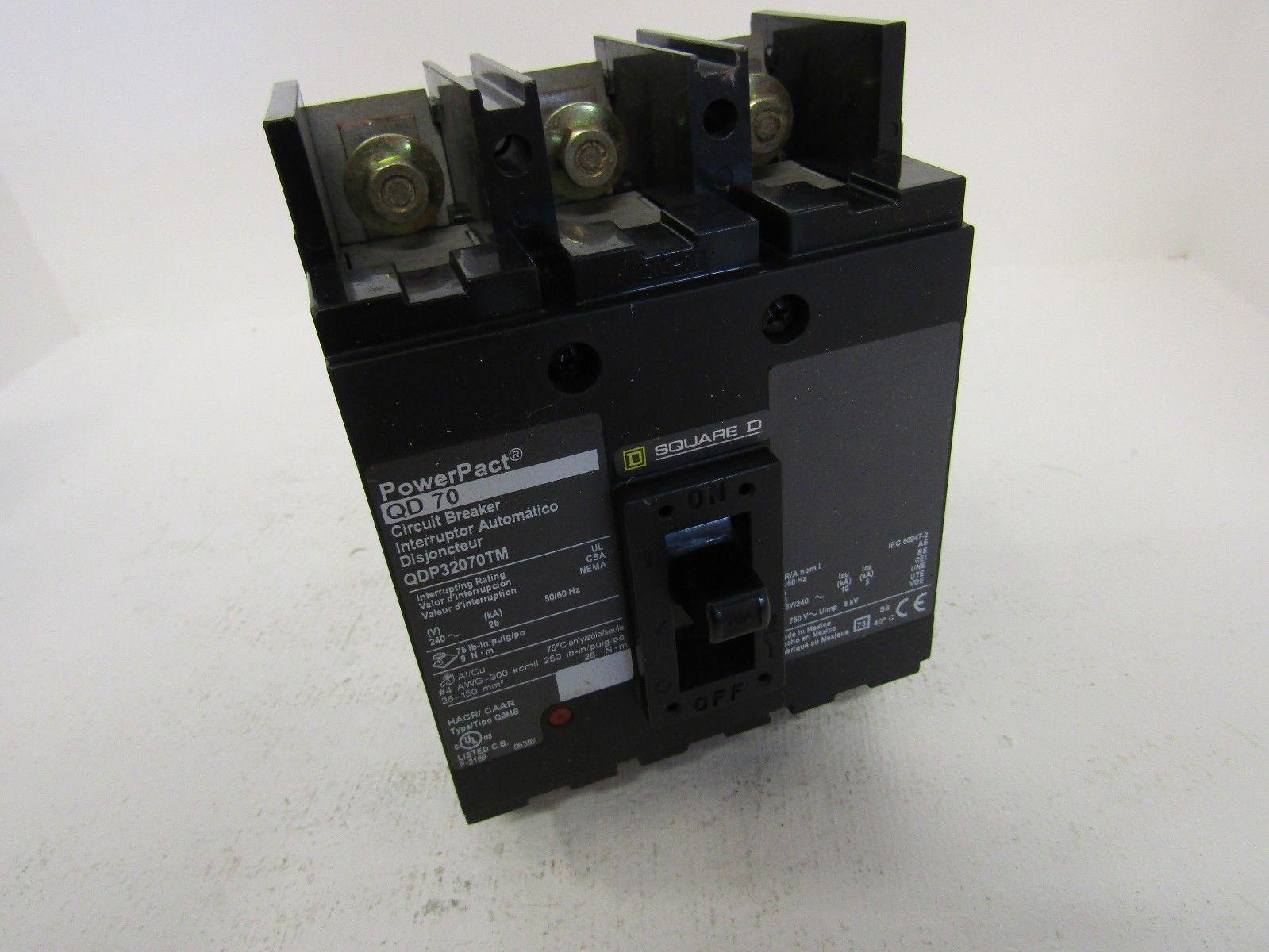 NEW SQUARE D QDP32070TM 3 POLE 70 AMP 240 VOLT EZM POWERPACT CIRCUIT BREAKER