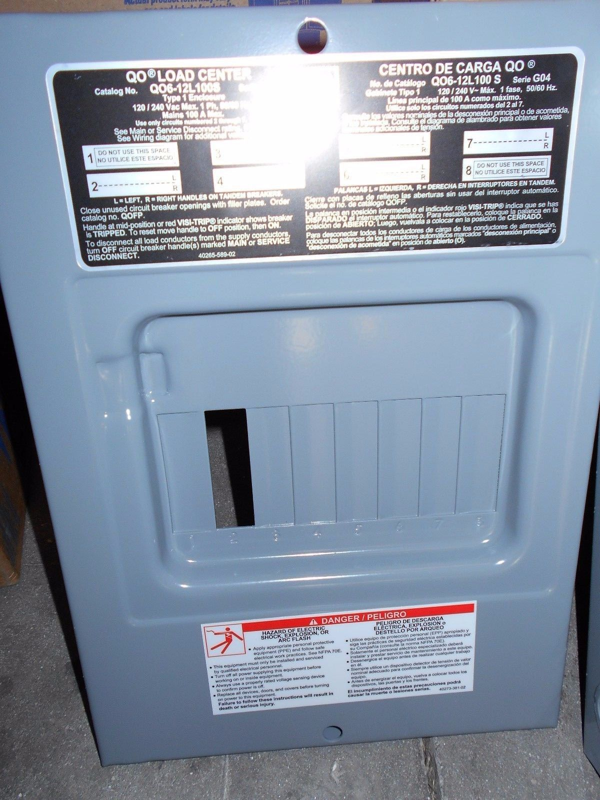 Nib Square D Qo612l100s 100 Amp Single Phase N1 Indoor Load Center With Cover