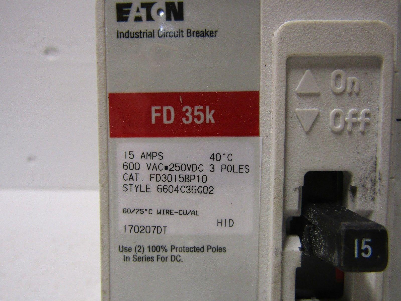 CUTLER HAMMER FD3015BP10 3 POLE 15 AMP 600 VOLT 35KA@480 VOLT ...