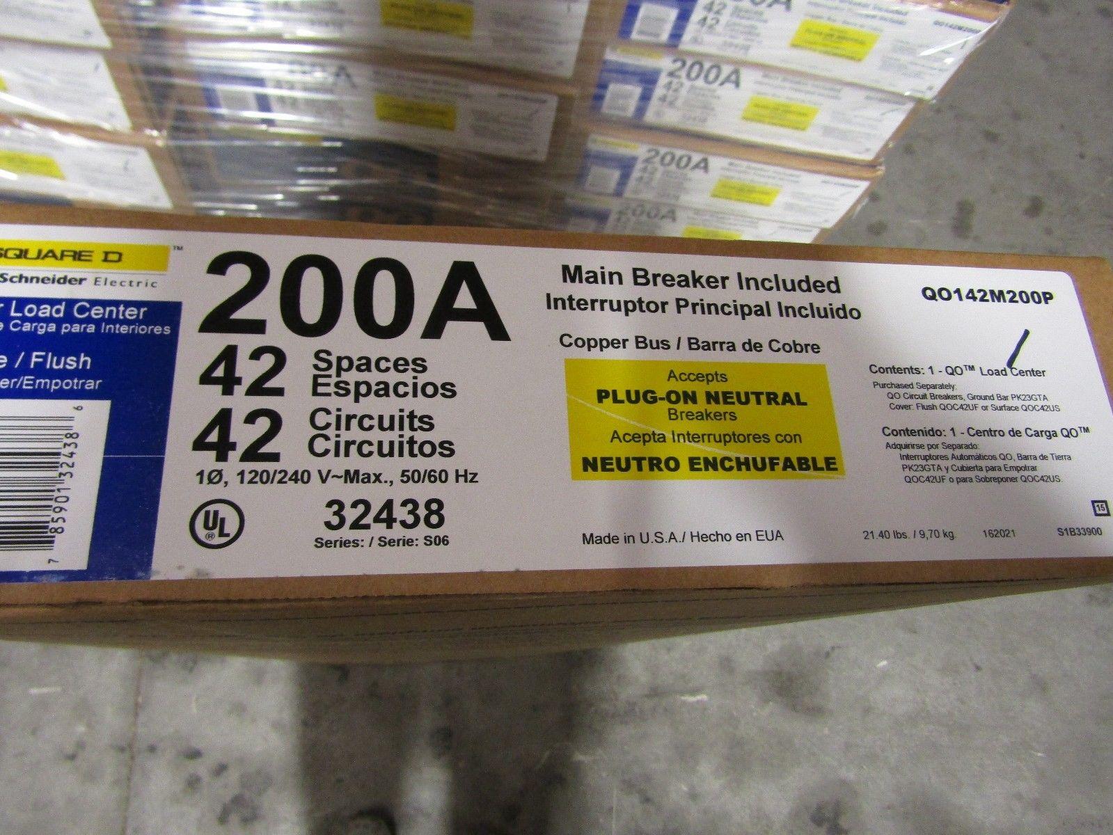 NEW SQUARE D QO142M200P 200A 42 CKT PLUG-IN NEUTRAL MAIN BRK LOAD ...