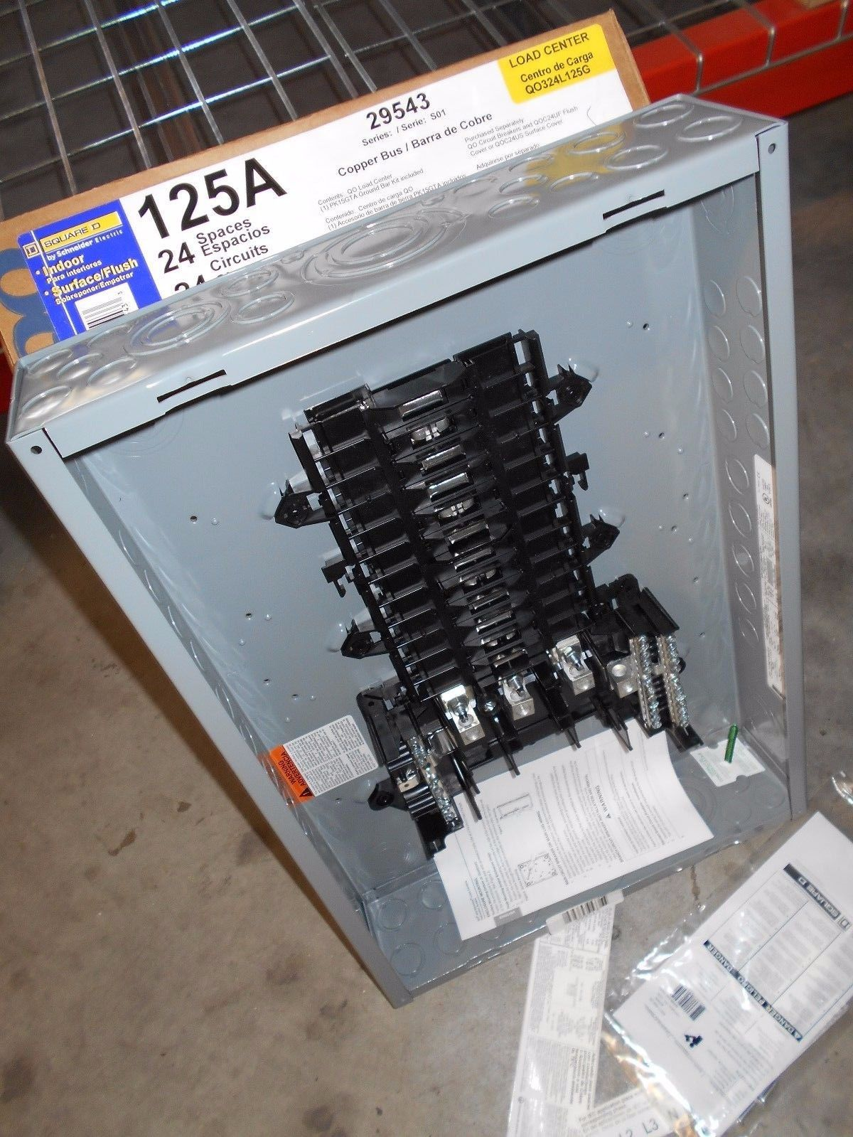 Nib Square D Qo324l125g 125 Amp Three Phase N1 Indoor Load Center 24 Home Electrical Circuit Breakers Centers Fuses