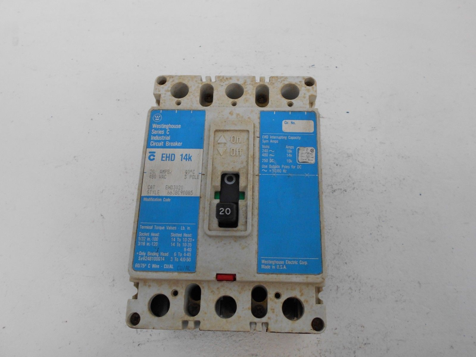 WESTINGHOUSE EHD3020 3 POLE 20 AMP 480 AMP TYPE EHD CH CUTLER HAMMER ...